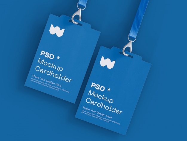 Set of two badge identity cards mockup