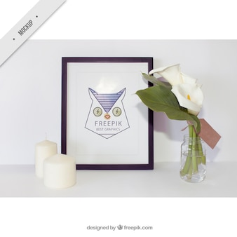 Simple frame with candles and cute flowers