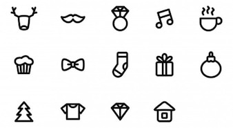 Simple icons with christmas elements