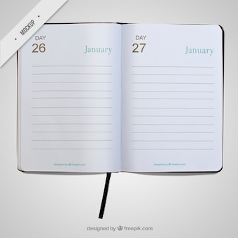 Simple open diary mockup