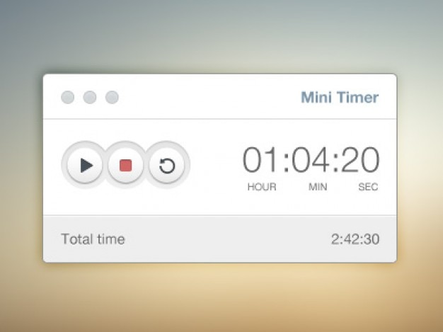 Simple timer ui elements psd