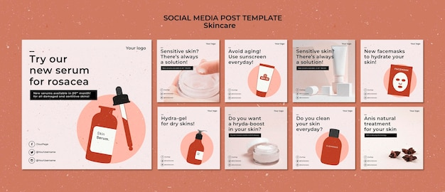 Skincare instagram posts template with photo
