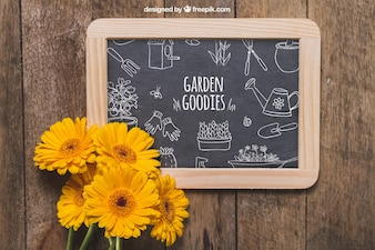Slate and flower decoration