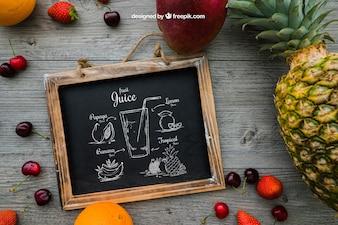 Slate and tropical fruits