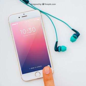Smartphone mockup with finger