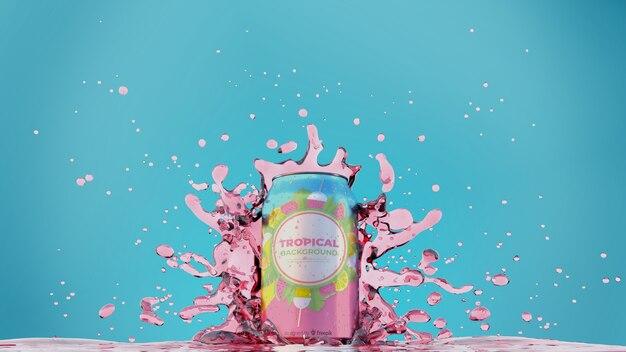 Soda can with splashing juice