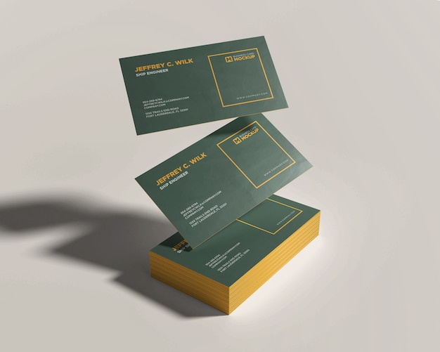 Stack business card mockup with floating card