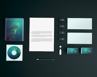 Stationery on black background mock up