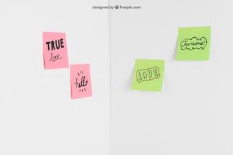 Sticky notes in corner