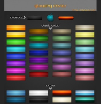 stylish glowing colors web ui buttons pack psd