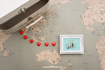Suitcase and photo frame