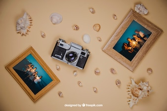 Summer concept with frames and camera