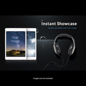 Tablet screen mock up with headphones