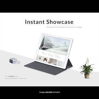 Tablet with keyboard on white background mock up