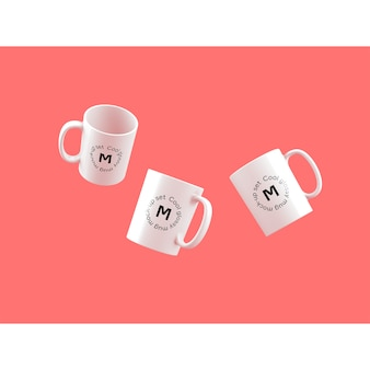 Three mugs on pink background mock up