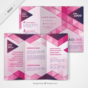Trifold with geometric shapes in pink color