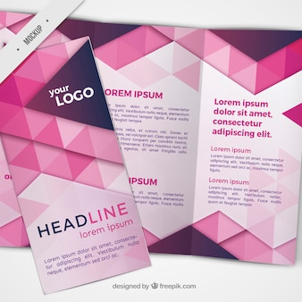 Trifold with pink triangles