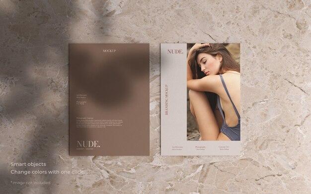 Two brochure mockup in minimalist style
