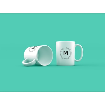 Two mugs on green background mock up