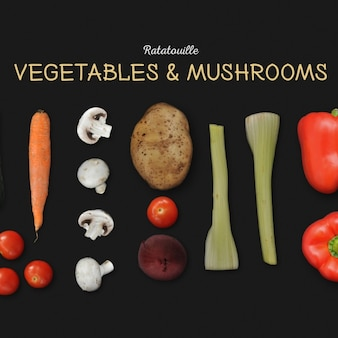 Vegetables and mushrooms background