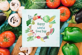 Vegetarian mockup with paper card