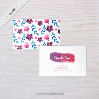 Watercolor flowers corporative card mockup