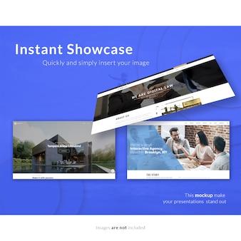 Web pages on blue background mock up