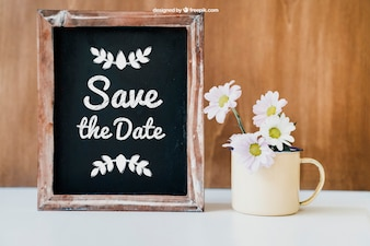 Wedding decoration with cup and slate