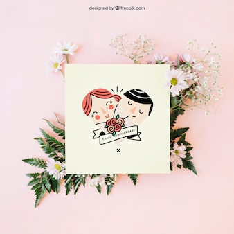 かわいいカードで結婚式の装飾