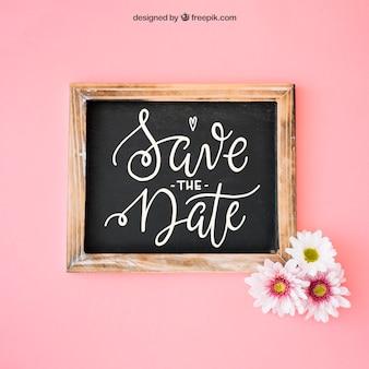 Wedding decoration with slate