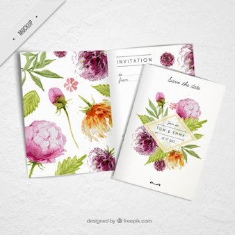 Wedding invitation with cute watercolor flowers