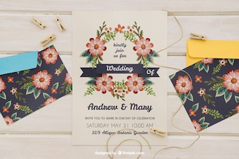 Wedding invitation with envelopes and cord with clothespins