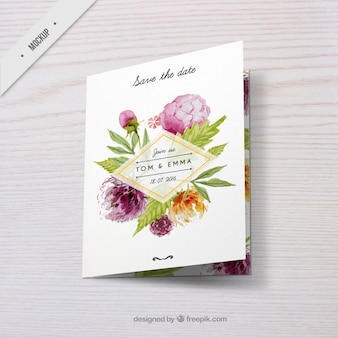 Wedding invitation with watercolor floral decoration
