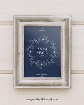 Wedding mock up with white frame