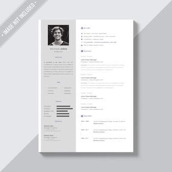 White cv template with silver details