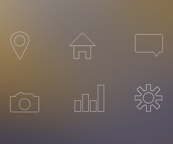 White line icons PSD
