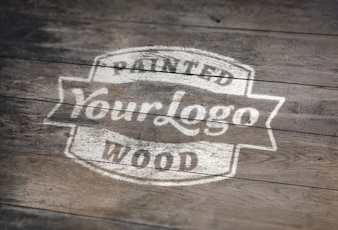 White painted on wood PSD mockup