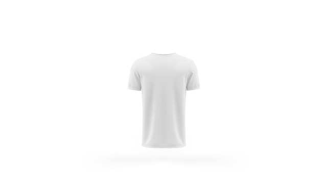 White t-shirt mockup template isolated, back view