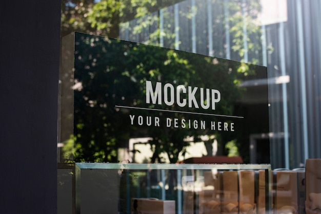 Window sign mockup in a shop
