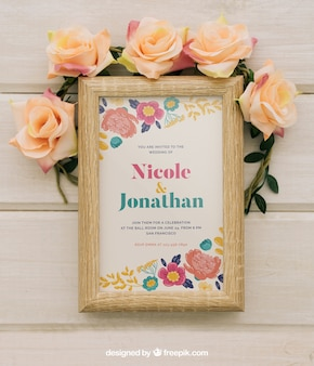 Wooden frame and floral ornaments mock up