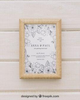 Wooden frame with mock up design