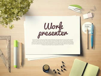 Work presenter on desktop mock up