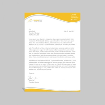 Yellow brochure with wavy forms