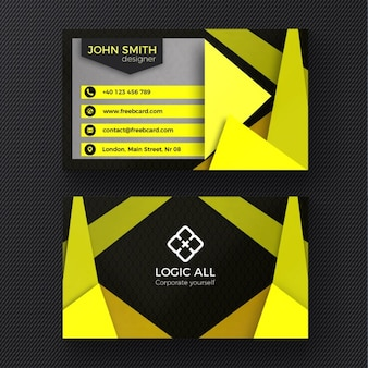 Yellow modern business card