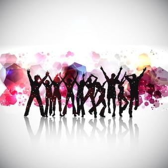 Силуэты людей, танцы на абстрактном фоне