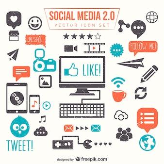 социальные медиа 2.0 векторный набор