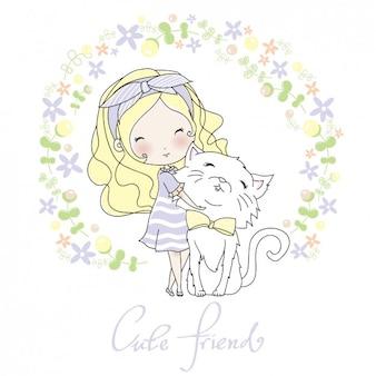 彼女の猫のデザインの女の子