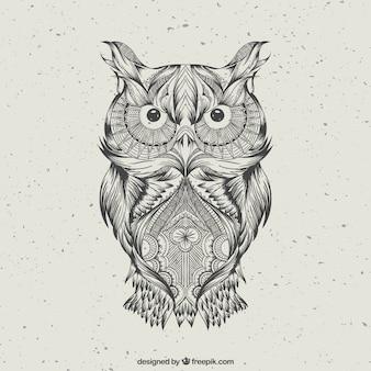 手描き抽象フクロウ