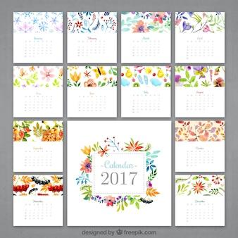 水彩花のカレンダー2017