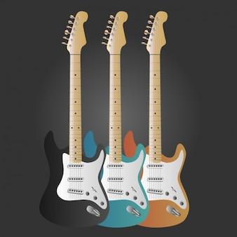 色とりどりのコレクションをギター